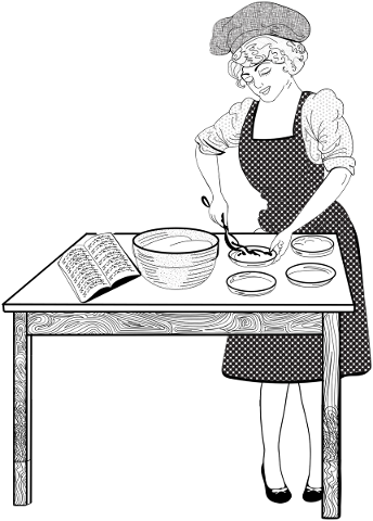 woman-cooking-line-art-table-hat-5815908