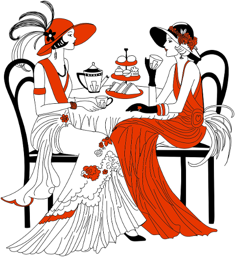 twenties-women-tea-line-art-women-5939681
