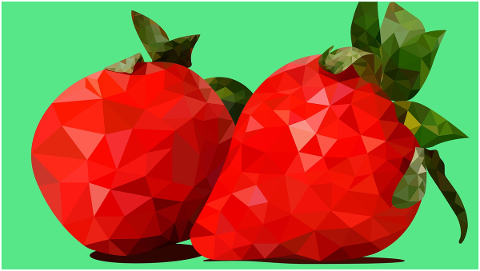 fruit-strawberries-polygonal-4664685