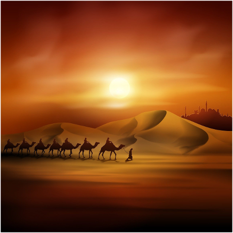 sunset-desert-camels-camel-train-6207725