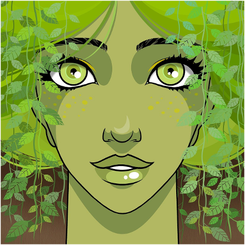 woman-dryad-green-leaves-foliage-6064799