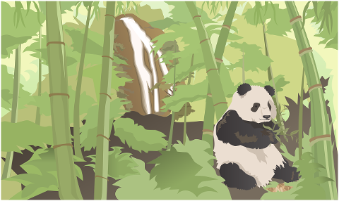 panda-bamboo-waterfall-forest-4197586