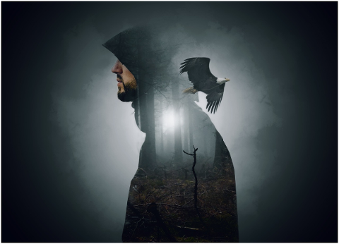 man-hooded-wood-mist-fog-branches-5356316