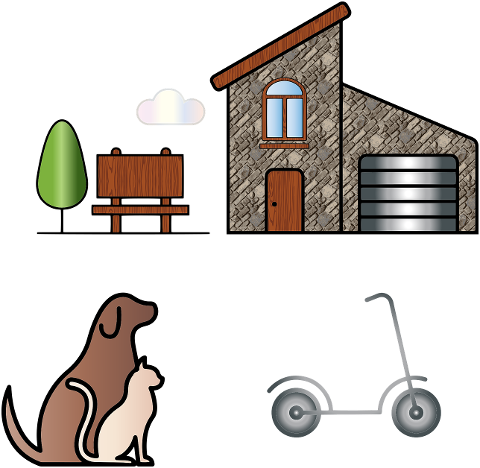 stone-house-animals-scooter-tree-4237314